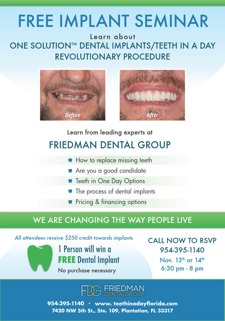 Free Implant Seminar Friedman Dental Group Dental